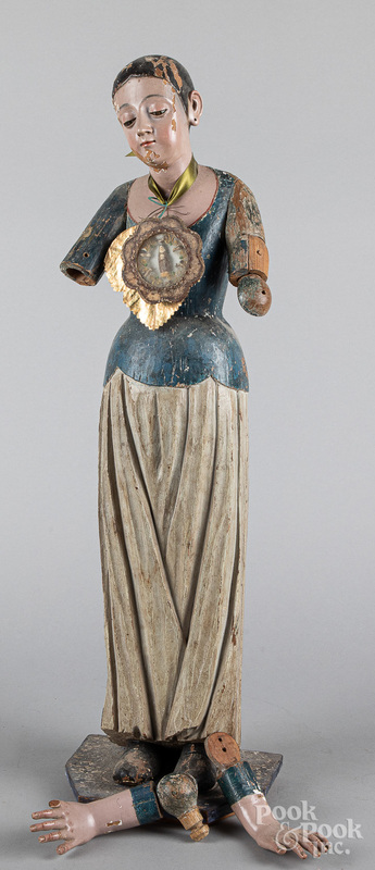 Carved and painted Santos figure, 19th c.