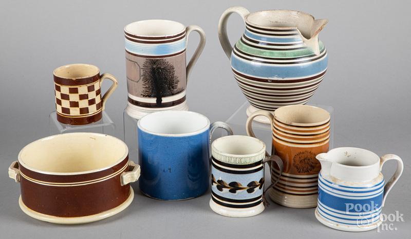 Mocha tablewares, 19th c.