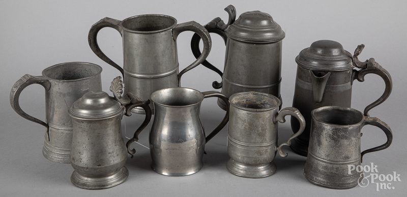 English pewter tankards and measures