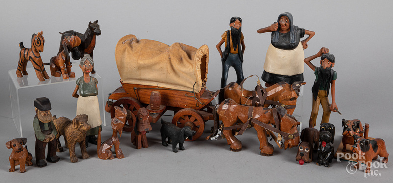 Group of wood carvings, 20th c.