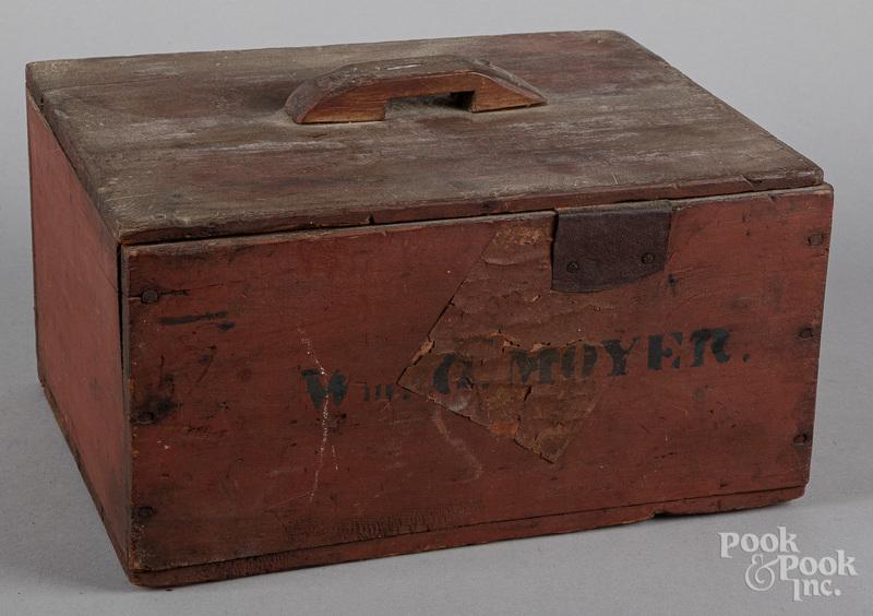Painted pine storage box, 19th c.