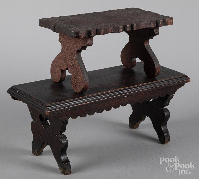 Pennsylvania walnut footstool, 19th c., etc.