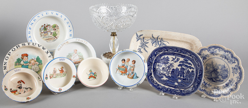 Seven porcelain baby dishes