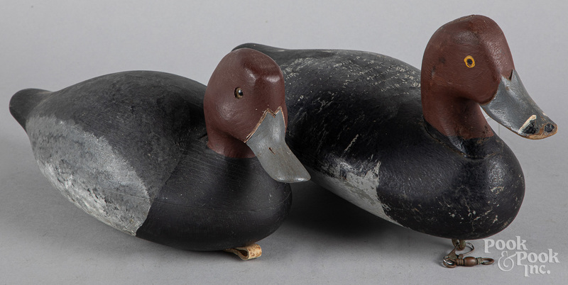 Two carved and painted duck decoys