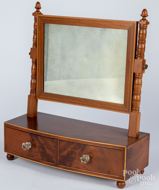 Federal mahogany shaving mirror, 19th c.
