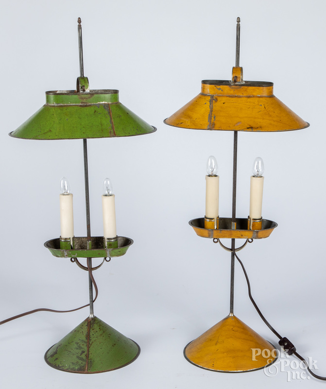 Two Jerry Martin painted tin table lamps