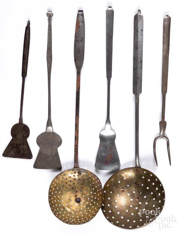 Six wrought iron utensils, 19th c.