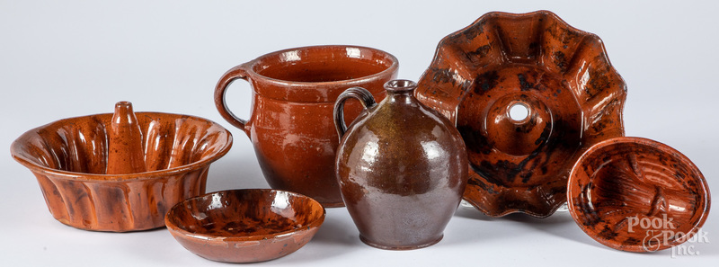 Six pieces of American redware