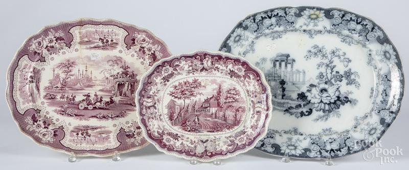 Three Staffordshire platters, etc.