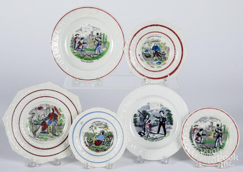 Six Staffordshire ABC plates