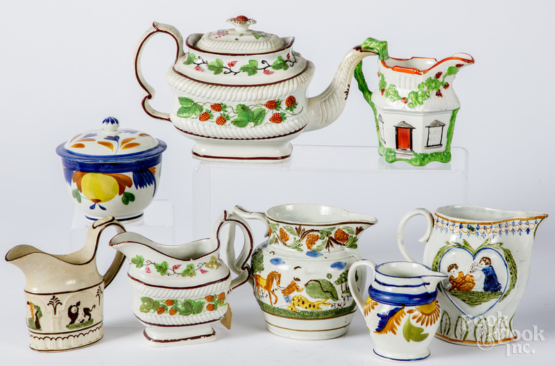 Pearlware strawberry teapot and creamer, etc.