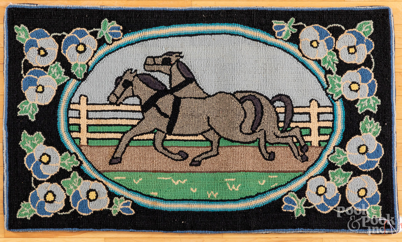 American hooked rug with galloping horses