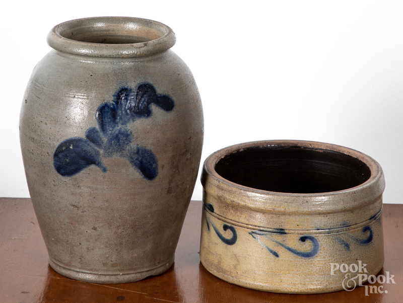 Stoneware crock and butter tub