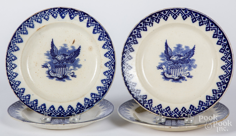 Four blue stick spatter plates with American eagles