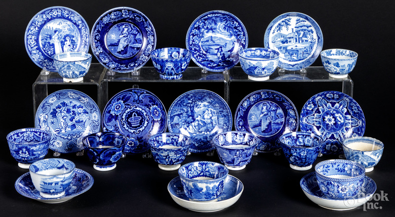 Blue Staffordshire cups and saucers