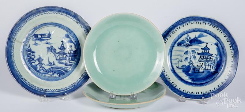 Pair of Chinese celadon plates, etc.
