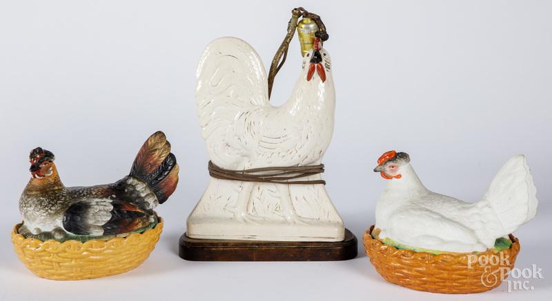 Two porcelain hen on nests, etc.