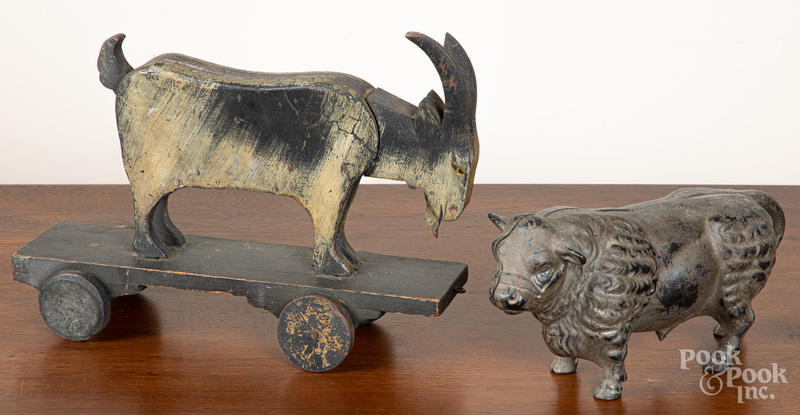 Painted wood animated goat pull toy, etc.