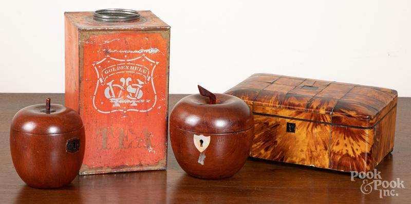 Two apple tea caddies, etc.