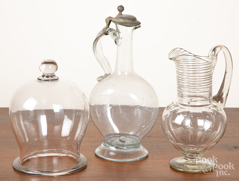 Three pieces of colorless glass