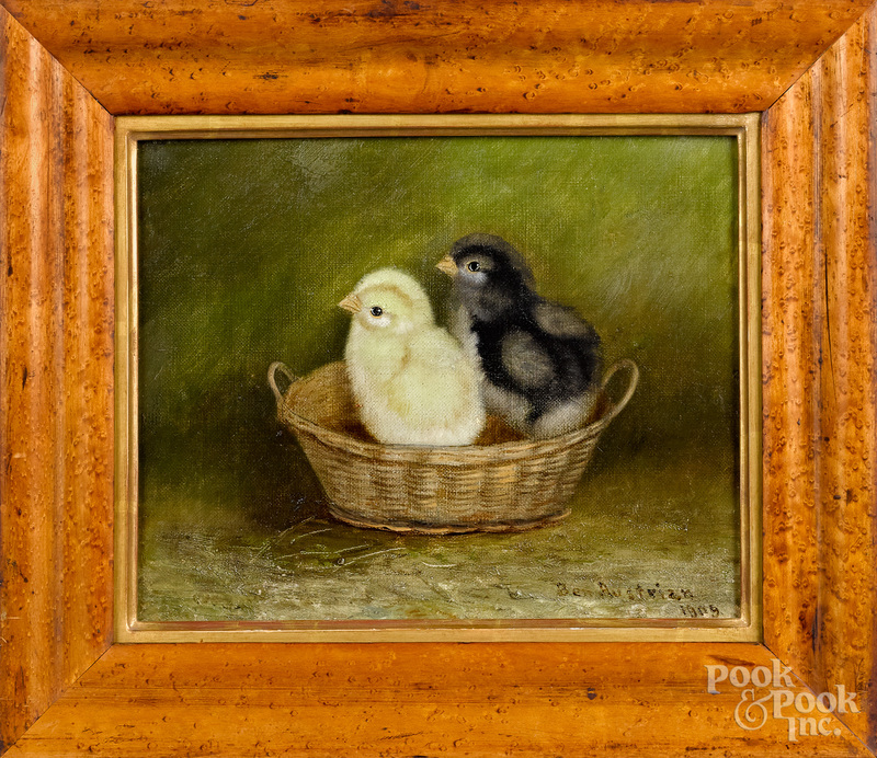 Ben Austrian oil on canvas of two chicks