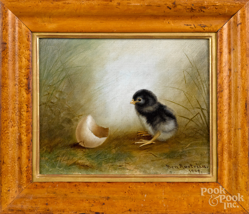 Ben Austrian oil on canvas of a chick