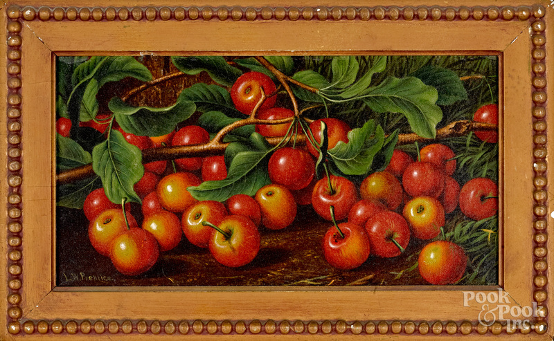 Levi Wells Prentice oil on canvas of apples