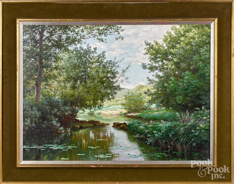 Rene His oil on canvas river landscape