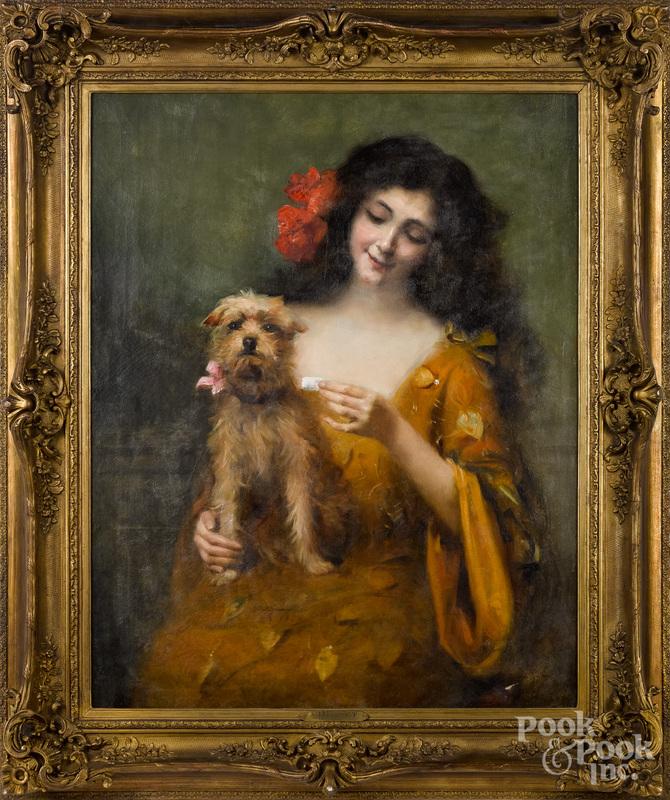 Auguste Emile Bellet oil on canvas of a woman