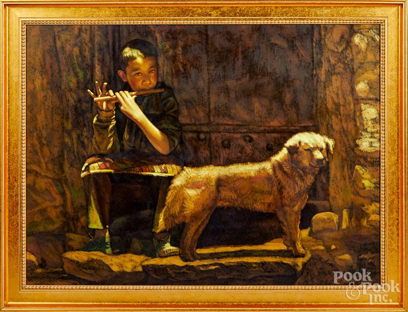 Zhiyue Zheng oil on canvas of a boy