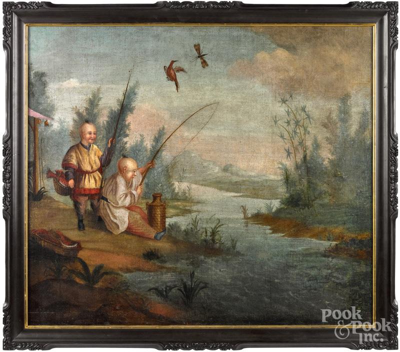 China Trade scene of two boys fishing, 19th c.