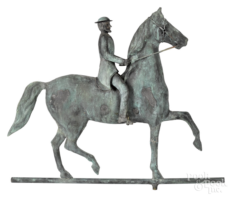 Swell bodied copper horse and rider weathervane