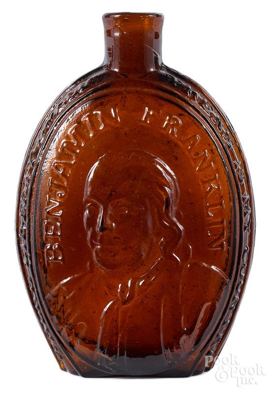 Philadelphia historical amber glass flask