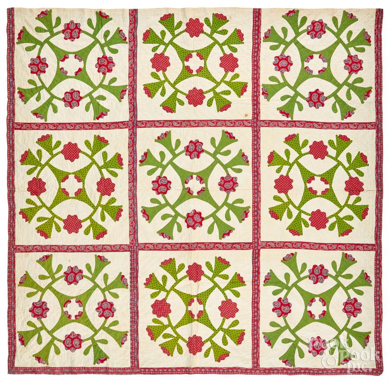 Cactus Rose appliqué quilt, late 19th c.