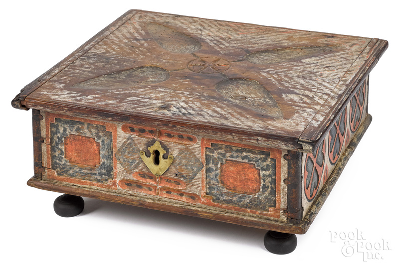 Continental painted pine lock box, early 19th c.
