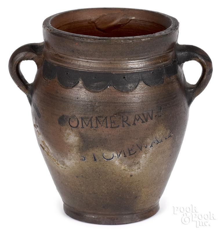 Manhattan, New York stoneware crock, ca. 1800