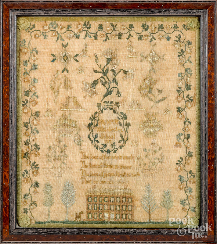 Chester County, Pennsylvania silk on linen sampler