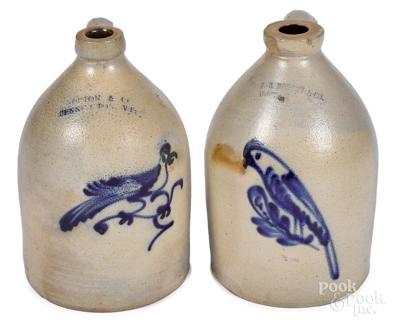 Two Norton stoneware jugs, 19th c.