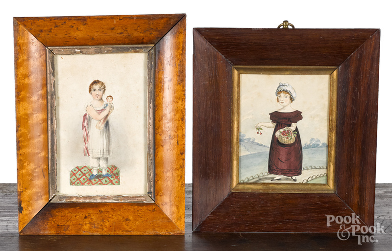 Two miniature watercolor portraits of girls