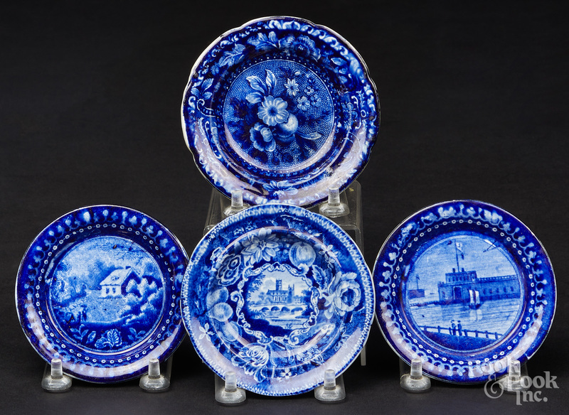 Four Historical blue Staffordshire cup plates