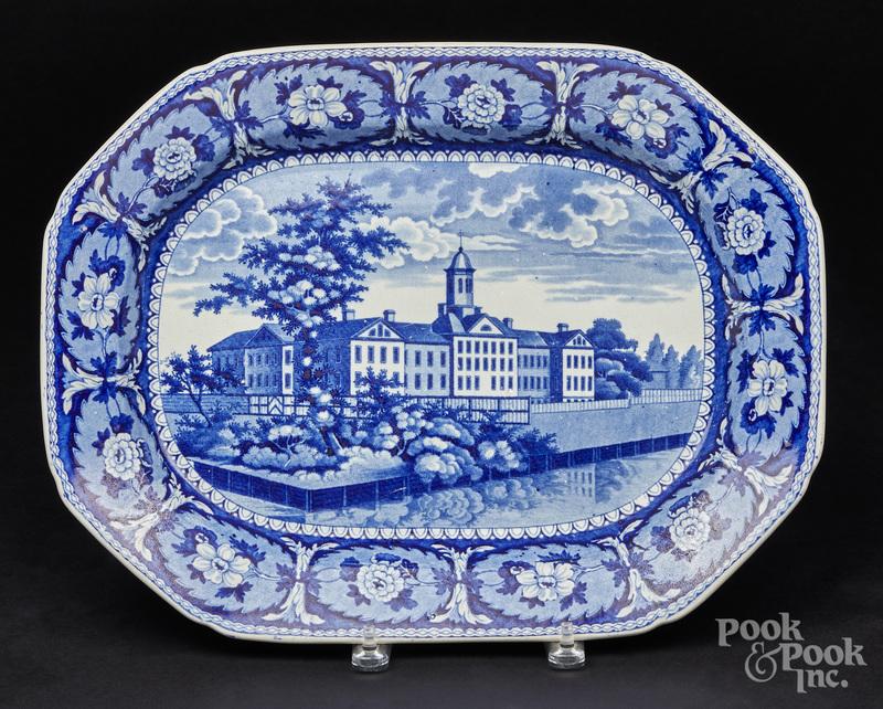 Historical blue Staffordshire Almshouse platter
