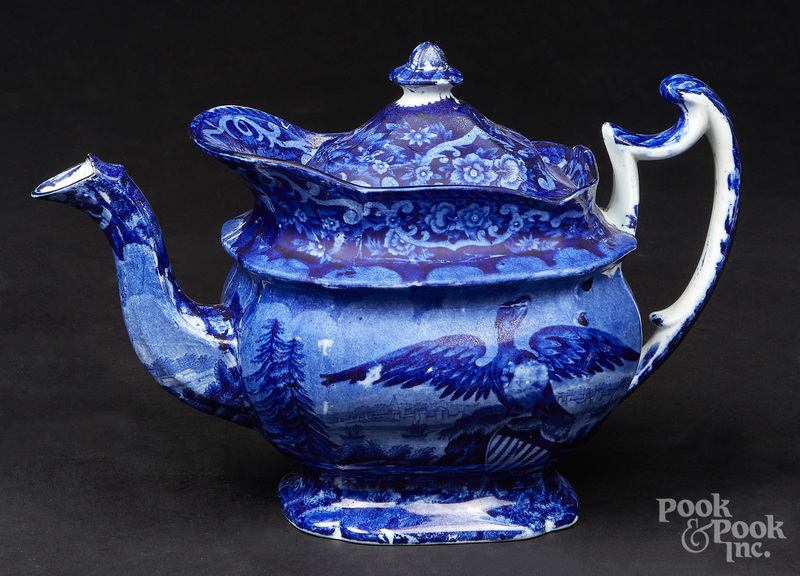 Historical blue Staffordshire teapot