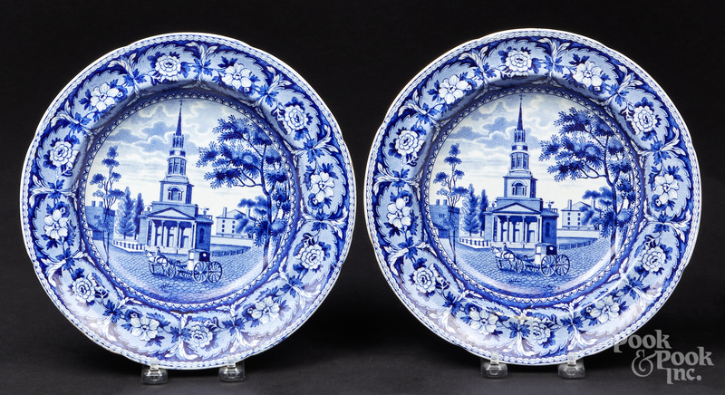 Pr. of Historical blue Staffordshire shallow bowls