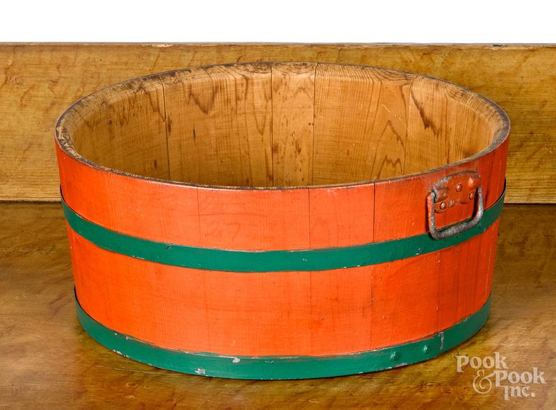 Richmond Cedar Works painted bucket, early 20th c.