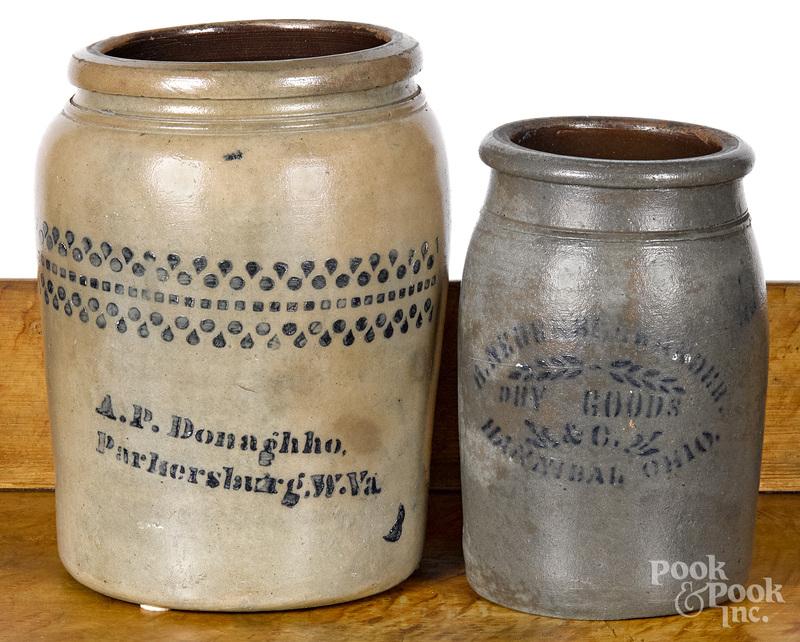 West Virginia stoneware crock, 19th c.
