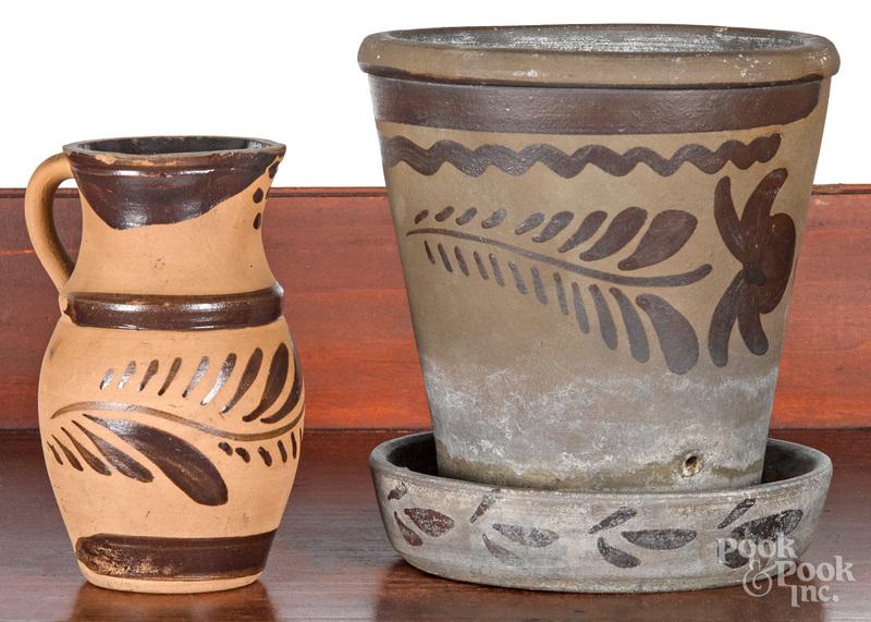 Western Pennsylvania tanware creamer and flowerpot