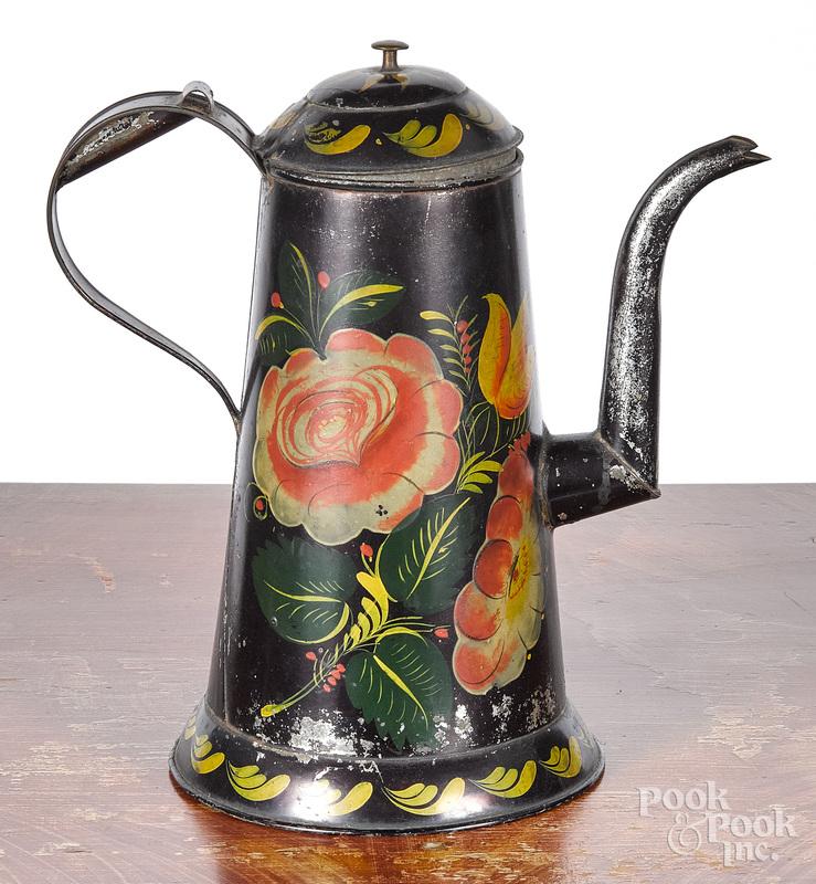Black toleware coffee pot, 19th c.