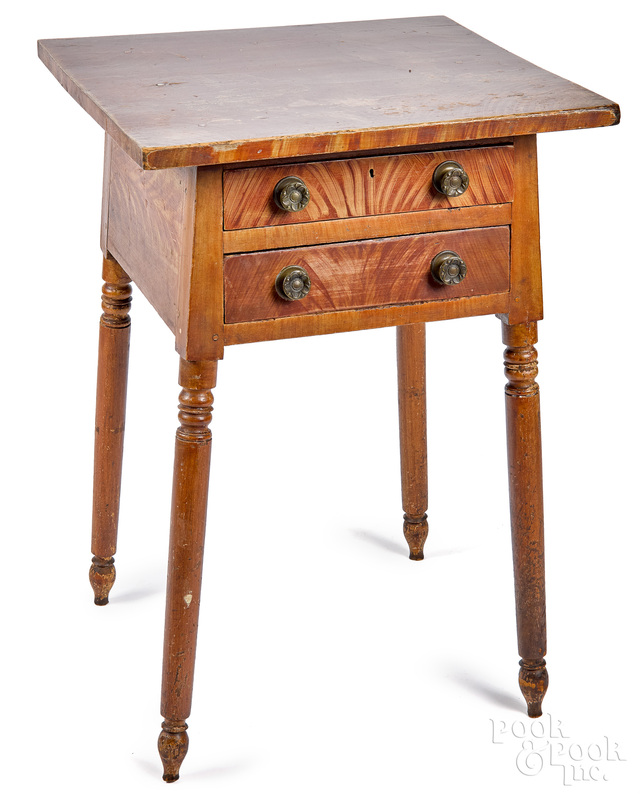 Ohio painted poplar two-drawer stand, 19th c.