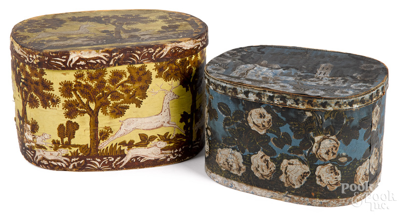 Two wallpaper hat boxes, 19th c.