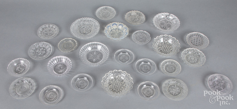 Lacy glass cup and toddy plates